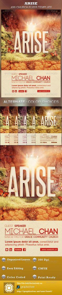 Arise Church Flyer Template — Photoshop PSD #church program template #light • Available here → https://graphicriver.net/item/arise-church-flyer-template/2636017?ref=pxcr