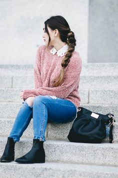 I love collared tops and this tops it with a pink sweater over it!