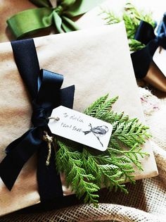 Ran out of wrapping paper? Dress-up craft paper with a a bit of evergreens.