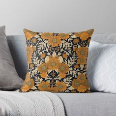 """Orange Floral Pattern For Fall/Autumn"" Throw Pillow by somecallmebeth 