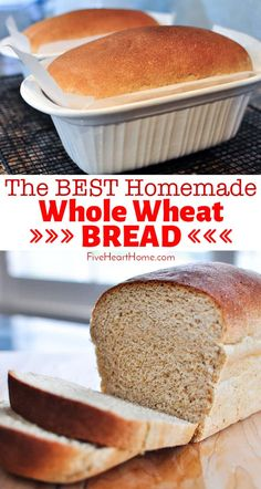 The Very BEST Whole Wheat Bread is the softest, moistest, fluffiest, freshest-staying, homemade, 100% whole wheat bread you've ever tried! | FiveHeartHome.com #wholewheatbread #homemadebread #wheatbread Best Whole Wheat Bread, Honey Wheat Bread, Whole Wheat Bread Recipe No Sugar, Vegan Wheat Bread Recipe, Whole Wheat Biscuits, Sugar Bread, Fresco, Bread Machine Recipes, Bread Recipes