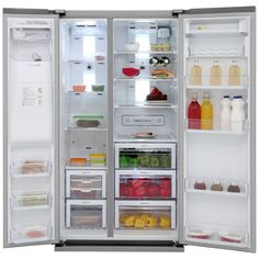 H178 x W90.8 x D69.2, 91 wide thin walls - large capacity Samsung G-Series RSG5UCRS American Fridge Freezer - Stainless Steel