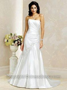 A-line Strapless Elastic Woven Satin Court Train Appliques Wedding Dresses