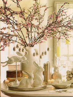 Classic Spring Blossom Bunny Display Great for Easter