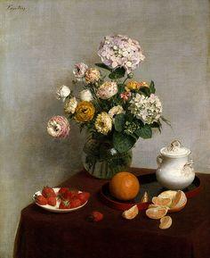 Henri Fantin-Latour - Flores de Verão e Frutos, 1866 - Category:Hydrangea in art - Wikimedia Commons