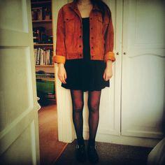 Vintage 80's suede jacket, topshop dress, PRIMARK jelly shoes