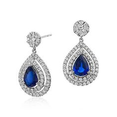 Pear Shape Sapphire and Diamond Double Halo Dangle Earrings in 18k White Gold (2.68 cts)