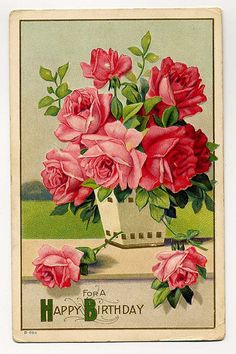 A gorgeous rose print card for a happy birthday. #vintage #birthday #cards