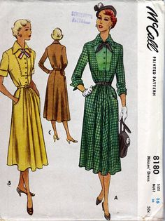 1950 Misses' Dress McCall 8180  Size 16  Bust 34  Factory Folded