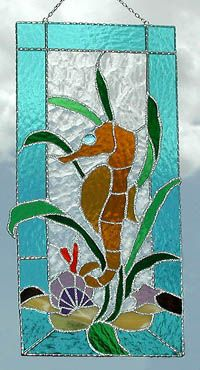 """Seahorse Stained Glass Suncatcher Panel - 8"""" x 17"""" - $62.95Stained Glass Designs -  Stained Glass Sun Catchers – Stained Glass Art – Stained Glass Suncatchers – Handcrafted Stained Glass Gifts -  See more stained glass designs at www.AccentonGlass.com"""