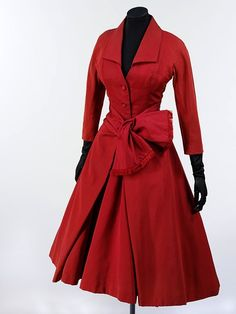 Beautiful red Dior coat 1955 photography