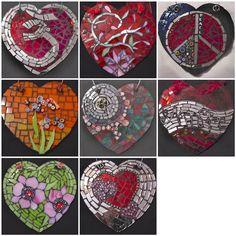 Mosaic Heart Ornaments