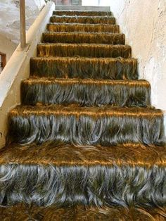 A staircase of hair. I'm just glad I don't have to comb it.
