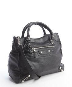 Balenciaga : black 'Giant 12' studded braided top handle shoulder bag