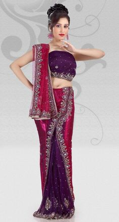 $214.17 Magenta And Purple Net Lehenga Saree 14196