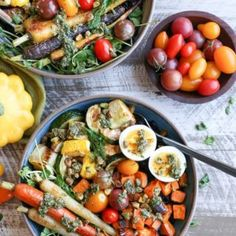 Roasted Vegetable Forbidden Rice Bowls with Carrot Top Pesto