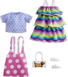 Barbie Dress, Barbie Clothes, Barbie Doll, Barbie Stuff, Pink Fashion, Fashion Dolls, Polka Dot Jumpers, Barbie Playsets, Chelsea Doll