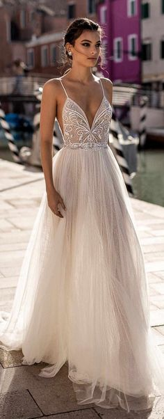 gali karten 2018 bridal spaghetti strap deep plunging sweetheart neckline heavily embellished bodice high slit skirt soft a line wedding dress open scoop back sweep train lv — Gali Karten 2018 Wedding Dresses - Boho Wedding Slit Wedding Dress, Wedding Dresses 2018, Sweetheart Wedding Dress, Bridal Dresses, Tulle Wedding, Boho Beach Wedding Dress, Wedding Dress Abroad, Gown Wedding, Bridal Lace