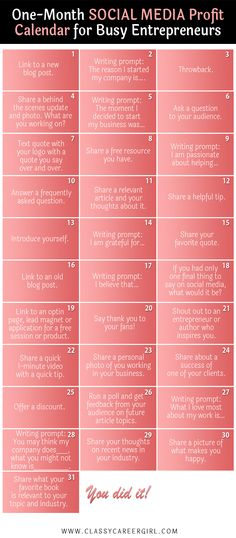 1 month Social Media Calendar for Busy Entrepreneur. How to become an entrepreneur. Business tips. Inbound Marketing, Business Marketing, Content Marketing, Business Tips, Online Marketing, Affiliate Marketing, Internet Marketing, Online Business, Marketing Communications