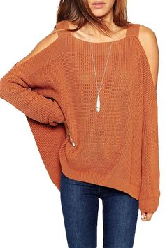 Straps Solid Color Hollow Out Long Sleeve Sweater