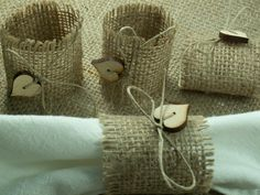 Rustic Style Rustic 6 Burlap Napkin Rings with Buttons and Twine , Wedding Decor , Country Wedding