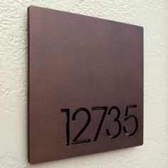 CUSTOM Minimalist Square House Number Sign in Powder Coated Aluminum