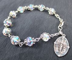 Crystal and Sterling Rosary Bracelet, Swarovski Crystal Rondelle Beads by ContemplativeDsigns on Etsy