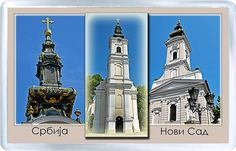 $3.29 - Acrylic Fridge Magnet: Serbia. Novi Sad. The Dormition Of The Virgin Mary Church And Orthodox Cathedral Of Saint George