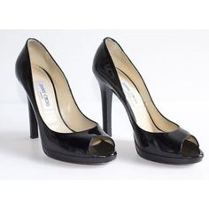 Pre-owned Jimmy Choo Black Patent Leather Peep Toe Classic Platform... ($202) ❤ liked on Polyvore featuring shoes, pumps, black, peep toe shoes, patent pumps, platform pumps, peeptoe pumps and patent leather shoes
