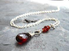 Pendant Garnet Necklace Red Teardrop Gemstone, Sterling Silver Garnet Jewelry on Etsy, $49.00