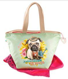 Pug summer flower carlino tote bag