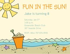 Beach party invitations httppartyinvitationwording charming beach party invitation design idea with breach background with orange bucket httppartyinvitationwording partyinvitation party stopboris Choice Image