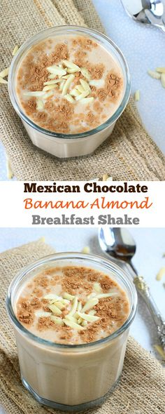 Treat yourself to a luscious, creamy, AND nutritious Mexican Chocolate Banana Almond Shake for breakfast! {gluten-free, vegan option}