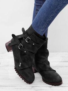 87a27cfa232 Women Vintage Buckle Boots Side Zipper Round Toe Plus Size Boots Plus Size  Boots
