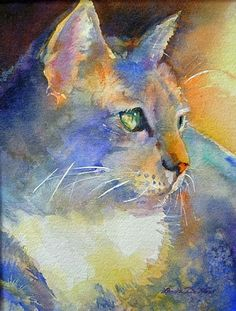 Night Watch by Linda Neal Watercolor cat art Art Watercolor, Watercolor Animals, Cat Drawing, Painting & Drawing, Photo Chat, Animal Paintings, Cat Art, Painting Inspiration, Illustration Art