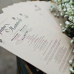 """Wedding ceremony booklets are nice and old school but kinda love the simpler black on recycled kraft print hand outs a lot more!  A throw back to a beautiful winter wedding we helped out for the awesome couple James and Hannah :) #wedding #weddings #weddingstationery #ceremony #simpledesigns #design"""