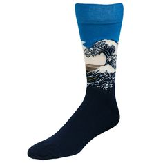 """""""The Great Wave Off Kanagawa"""" by Hokusai knocks us off our feet on this men's crew sock by HotSox."""