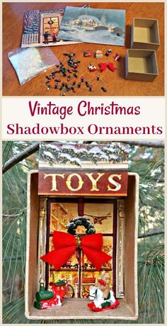Create a vintage Shadowbox Ornament using old Christmas cards and other mini items. Tutorial details how to make these DIY vintage christmas decorations. Great upcycle craft to do for the holidays! Vintage Christmas Crafts, Easy Christmas Ornaments, Diy Christmas Lights, Christmas Crafts To Make, Old Christmas, Diy Christmas Cards, Handmade Ornaments, Christmas Decorations, Christmas Mantles