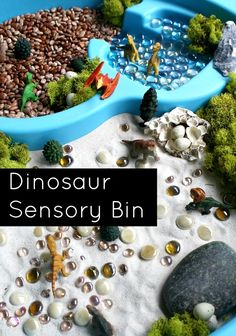 Dinosaur Sensory Bin for Kids... I've never heard of sensory bins before this and after doing a little google search on them I love the idea Sensory Boxes, Sensory Tubs, Sensory Play, Preschool Dinosaur, Dinosaur Play, Dinosaur Dinosaur, Dinosaur Activities, Dinosaur Crafts, Sensory Activities