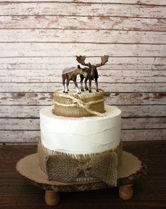 Moose wedding cake topper-Alaskan Moose-Moose cake topper-Rustic Cake topper-Hunting cake topper. $55.00, via Etsy.
