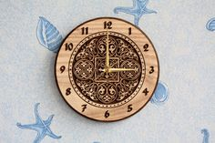 "Wood carved wall clock ""Russian ornament"""