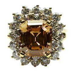 Fancy Brown GIA Cert Emerald Cut Diamond Gold Ring