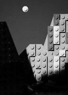 """Moon and Half Dome by Balakov in Lego. """"Moon and Half Dome"""" was taken by Ansel Adams in 1960 in Yosemite National Park, California. Black And White Landscape, Black N White Images, Lego Pictures, Lego Blocks, All Lego, Gadgets, Lego Worlds, Ansel Adams, Lego Creations"""