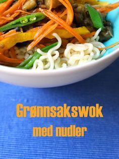 Enkel Rask Grønnsakswok Nudler Pepper Soyasaus