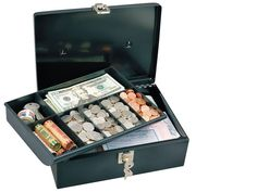 Metal Cash Box Lock Money Safe Keep 7-Compartment Tray Locking Coin Security BLK #CashBox