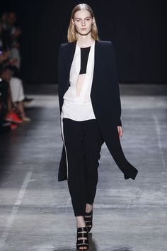 Narciso Rodriguez Spring 2013 Ready-to-Wear: Deep Narrow V-slit front shirts/dresses and minimal colour! Classy and fun