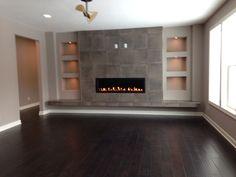 Fantastic looking built ins....Modern fireplace media wall