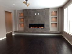 Modern fireplace media wall