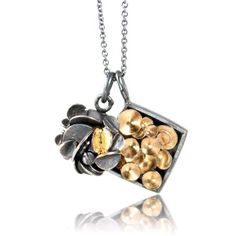 charmn7- by LoriMeg Designs .Charm necklace with desert rose and golden pebbles charms. Oxidized silver and 22k bimetal