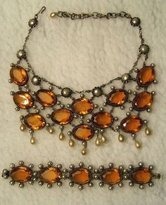 Vintage Christian Dior Open Back Pearl & Amber Rhinestone Necklace and Bracelet